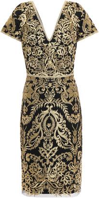 Marchesa Metallic Embroidered Tulle Dress