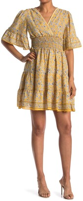 Max Studio Floral Surplice Neck Ruffled Dress