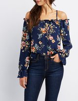 Charlotte Russe Ruffle-Trim Cold Shoulder Button-Up Top