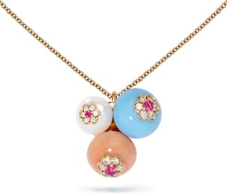David Morris Rose Gold, Diamond and Sapphire Berry Trio Pendant