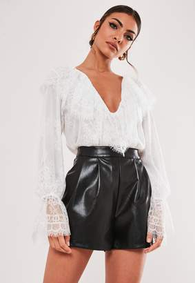 Missguided White Lace Frill Front V Neck Blouse