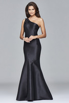 Faviana s7973 Long mikado one shoulder dress with bead detailing