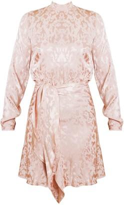 Amrita Pastel Pink Textured Fabric Open Back Mini Dress