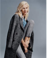 Express plaid boxy double breasted coat