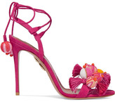 Aquazzura Tropicana Tasseled Beaded Suede Sandals - Fuchsia