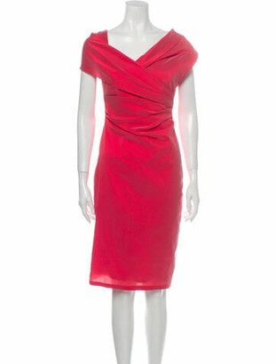 Talbot Runhof Cowl Neck Knee-Length Dress Pink
