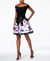 Xscape Evenings Off-The-Shoulder Floral-Print Fit and Flare Dress