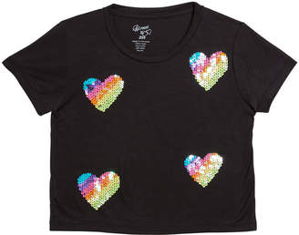 Flowers by Zoe Girl's Sequin Hearts Short-Sleeve Tee, Size S-XL