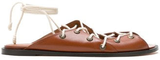 Nk Tie-Up Leather Flat Sandals