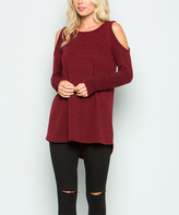 Sweet Pea Burgundy Cutout Sweater