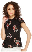 Rebecca Taylor Short Sleeve Lace Top w/ Embroidery Women's Clothing