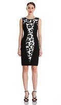 Theia 882057 Sleeveless Animal Print Ponte Sheath Dress