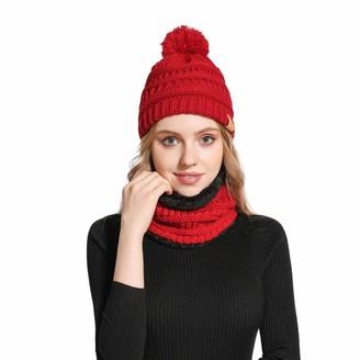 Feluz Womens Winter Hat Infinity Scarf Fuzzy Lined Thick Beanie Cap Winter Knit Warm Skull Cap Slouchy Ski Beanies Neck Scarf for Women Girls Red