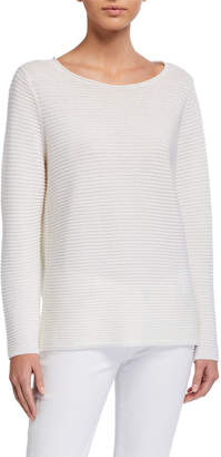 Eileen Fisher Petite Organic Linen/Cotton Jewel-Neck Long-Sleeve Sweater