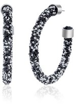 Bliss 18k White Gold Wrapped Black And Mirror Crystal C-hoop Post Earring.