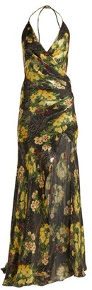 Adriana Iglesias Scarface Floral-print Silk-blend Dress - Black Yellow