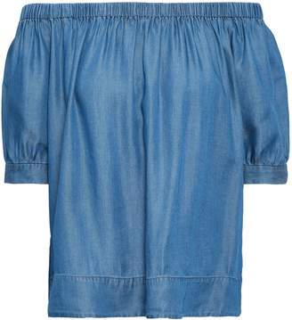Kate Spade Off-the-shoulder Tencel-chambray Top