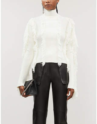 David Koma Fitted fringed-trim knitted jumper