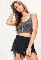 Missguided Grey Washed Popper Bralet, Grey