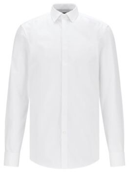 BOSS Slim-fit cotton business shirt with double cuffs