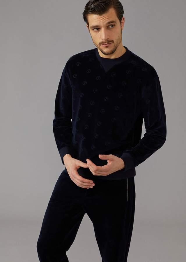 Giorgio Armani Velvet Sweatshirt With Tone-On-Tone Embroidered Logo