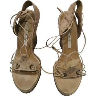 Pura Lopez Beige Leather Sandals
