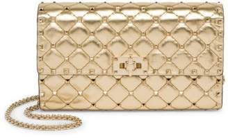 Valentino Rockstud Spike Metallic Leather Crossbody Clutch