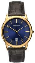 Sekonda Men's Gold Plated Brown Leather Strap Watch