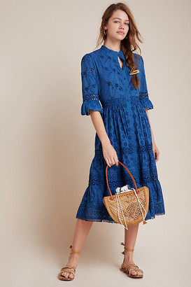 Robin Tiered Eyelet Midi Dress By Payal Jain in Blue Size L