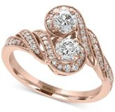 Effy Pavé Rose by Diamond Two-Stone Ring (3/4 ct. t.w.) in 14k Rose Gold
