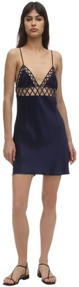 Luna Di Seta Mesh & Silk Slip Dress