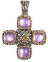 Konstantino Sterling Silver & 18K Gold Square Cut 4 Stone Amethyst Cross Pendant