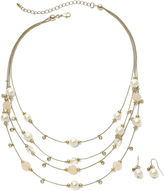 JCPenney JCP Faux Pearl & Bead Necklace & Earring Set