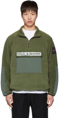 LQQK Studio for Paul and Shark Khaki Fleece Zip-Up Sweater