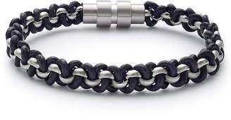Kenneth Cole Reaction Men Black & Silvertone Wrap Bracelet