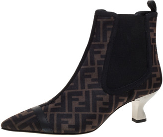 Fendi Brown/Black Zucca Mesh Colibri Pointed Toe Ankle Boots Size 41