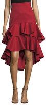 Alexis Kristyn High-Low Layered Ruffled Cotton Skirt