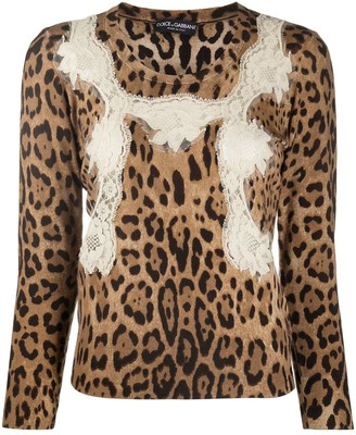Dolce & Gabbana Lace-Embellished Virgin-Wool Pullover