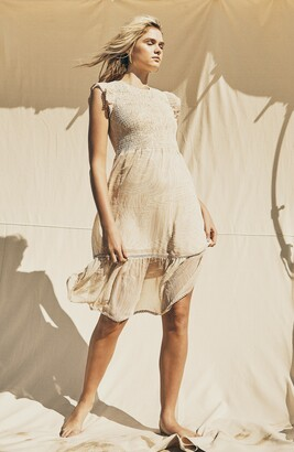 Lost + Wander Luau on the Beach Palm Print Smocked Chiffon Dress