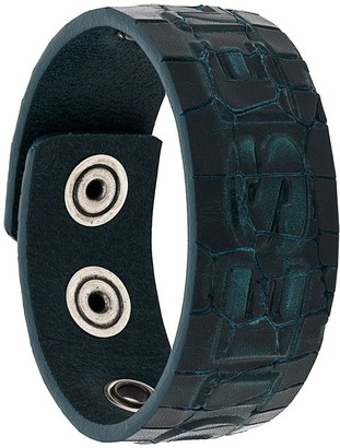 Diesel Croc-Effect Snap Button Bracelet