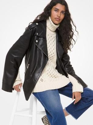 Michael Kors Collection Pebbled Leather Slit-Sleeve Moto Jacket