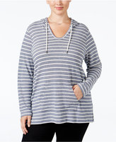 Style&Co. Style & Co. Plus Size Hooded Striped Top, Only at Macy's