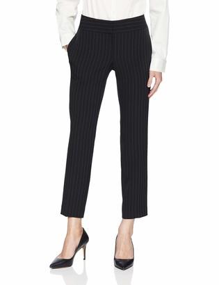 Kasper Women's Petite Pinstripe Stretch Crepe Slim Pant