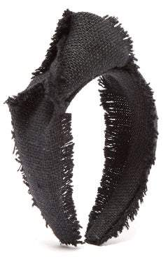 Lafayette House Of Loulou Knotted Canvas-weave Headband - Womens - Black