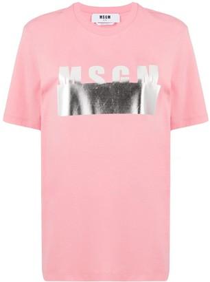 MSGM metallic logo-print T-shirt