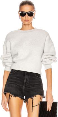 Alexander Wang Dense Fleece Bubble Crew Sweatshirt in Light Heather Grey | FWRD