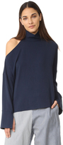 Tibi Asymmetrical Cutout Shoulder Top