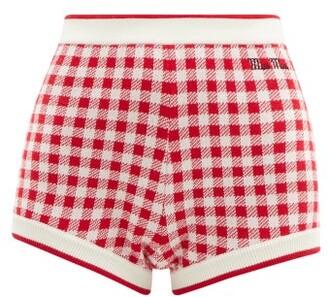 Miu Miu Logo-embroidered Gingham Wool Shorts - Red Multi