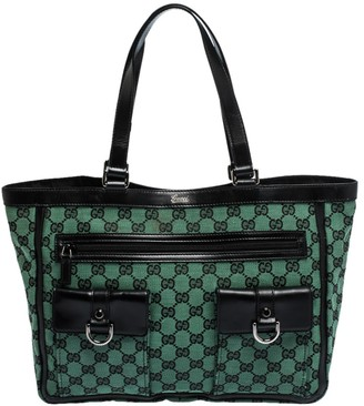 Gucci Green/Black GG Canvas and Leather Abbey Pocket Tote