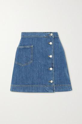 ALEXACHUNG 1976 Denim Wrap Mini Skirt - Mid denim